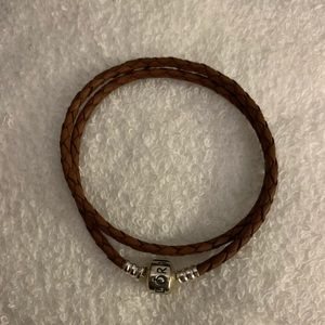Pandora Brown Leather wrap bracelet